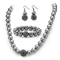Simulated Grey Pearl & Multi-Crystal Accent Black Rhodium-Plated Necklace, Bracelet, Earrings Set
