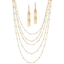 2 Piece Multi-Chain Beaded Station Necklace and Drop Earrings Set in Yellow Gold Tone 33""