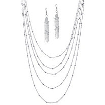 Silvertone Multi-Chain Beaded Station Necklace and Earrings Set Adjustable 33