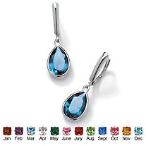 Pear-Cut Birthstone Drop Earrings in Sterling Silver