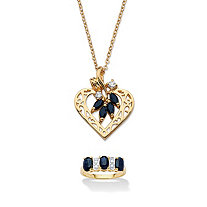 3 1/4 TCW Oval-Cut Sapphire 18k Gold over Sterling Silver Ring and Yellow Gold Tone Pendant and Chain