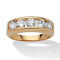 Men's 2.50 TCW Round Cubic Zirconia 18k Gold over Sterling Silver Wedding Band Ring