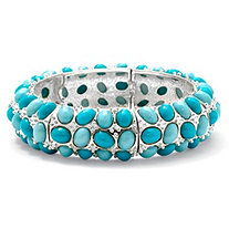 Oval-Shape Simulated Turquoise Silvertone Stretch Bracelet 9""
