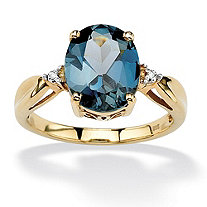 4.50-Carat Oval-Cut Genuine London Blue Topaz 18k Gold over Sterling Silver Scroll Ring