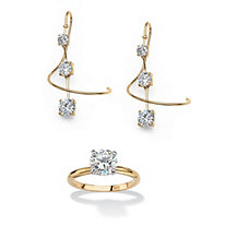 3.30 TCW Cubic Zirconia 18k Gold over Sterling Silver Spiral Drop Earrings and FREE Ring