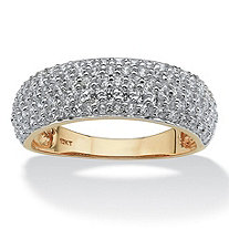 1.00 TCW Round Pave Cubic Zirconia 10k Yellow Gold Ring