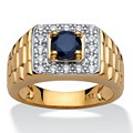 Men's 1.05 Carat Round Genuine Midnight Blue Sapphire 18k Yellow Gold Over Sterling Silver Classic Ring