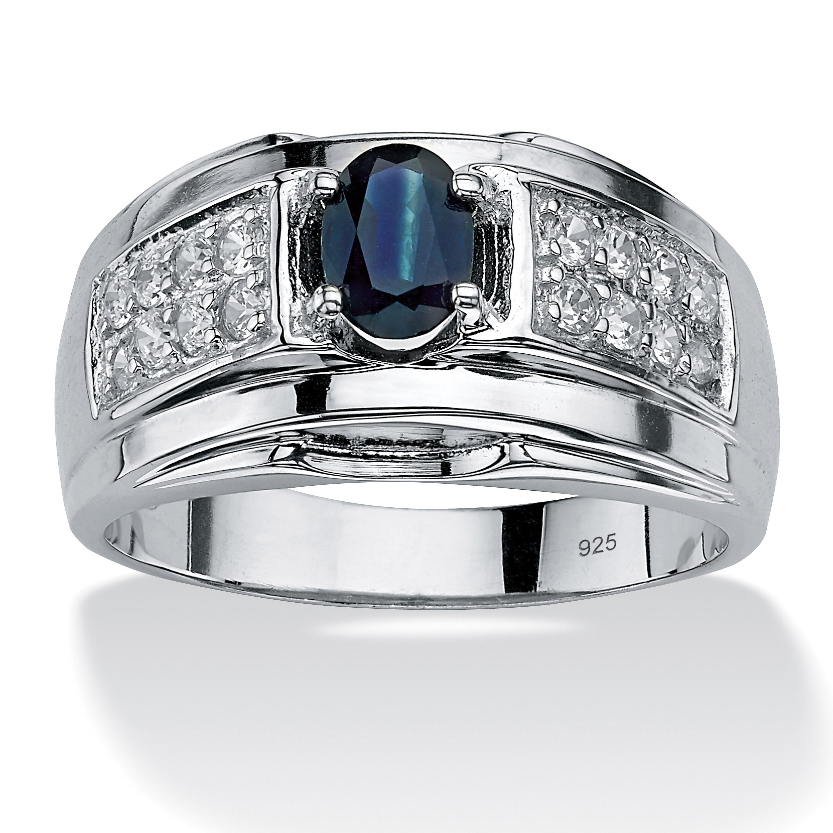 palmbeach jewelry men 39 s 1 tcw genuine sapphire and cz ring. Black Bedroom Furniture Sets. Home Design Ideas