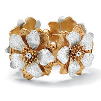 Flower and Crystal Stretch Bracelet in Silvertone and Yellow Gold Tone 8""