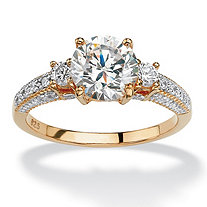 2 3/8 TCW Round Cubic Zirconia 18k Gold over Sterling Silver 3-Stone Bridal Engagement Ring