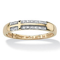 "Men's Diamond Accent 10k Yellow Gold Religious Cross ""Lord's Prayer"" Wedding Band Ring"