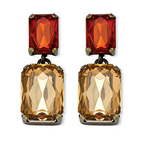 Champagne and Amber Crystal Drop Earrings in Antiqued Yellow Gold Tone