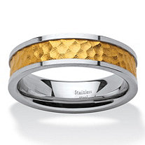18k Gold Inlay and Stainless Steel Hammered-Style Band Ring