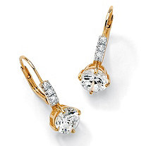 3.12 TCW Round Cubic Zirconia Drop Earrings in 18k Gold over Sterling Silver
