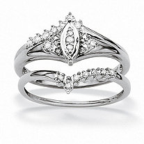 1/10 TCW Round Diamond 10k White Gold Marquise-Shaped Bridal Engagement Ring Set