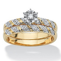 2 Piece 1/10 TCW Round Diamond Bridal Ring Set in 10k Gold