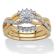 2 Piece 1/7 TCW Round Diamond Wave Bridal Ring Set in 10k Gold