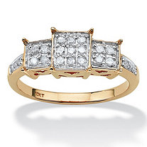 1/6 TCW Round Diamond 10k Yellow Gold Engagement Anniversary Princess-Shaped Ring