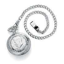 Men's Genuine JFK Bicentennial Half-Dollar Coin Silvertone Pocket Watch and Chain 13""