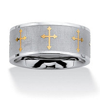 Stainless Steel and Yellow Gold Tone Cross Eternity Band