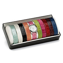 Silvertone Interchangeable Croco-Embossed Simulated Leather Band Watch Gift Set 7""