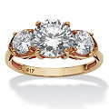 3.00 TCW Round Cubic Zirconia 10k Yellow Gold 3-Stone Bridal Engagement Ring
