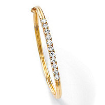 2.75 TCW Round Cubic Zirconia 18k Gold-Plated Bangle Bracelet 7 3/4