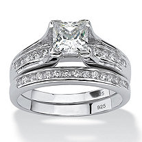 1.88 TCW Princess-Cut Cubic Zirconia Platinum Over Sterling Silver Engagement Wedding Band Set