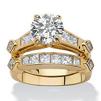 3.14 TCW Cubic Zirconia 18k Yellow Gold Over Sterling Silver 2-Piece Bridal Engagement Ring Set