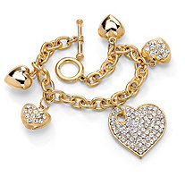Crystal Multi-Heart Charm Bracelet in Yellow Gold Tone 8