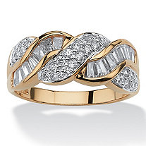 1.79 TCW Baguette Cut Cubic Zirconia 14k Yellow Gold over Sterling Silver BraI.D.ed Ring