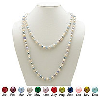 Round Birthstone-Color Cultured Freshwater Pearl Endless Necklace 48""