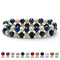 Round Birth Month Cultured Freshwater Pearl Set of Two Stretch Bracelets 7""