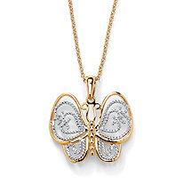18k Yellow Gold-Plated Two-Tone Filigree Butterfly Charm Pendant and Rollo-Link Chain 18""