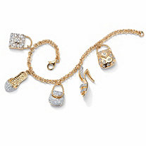 1.53 TCW Cubic Zirconia Purses and Shoes Charm Bracelet in Yellow Gold Tone