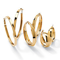 3 Pair Hoop Earrings Set in Yellow Gold Tone