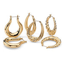 3 Pair Set of Hoop Earrings in Yellow Gold Tone