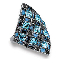 Princess-Cut Blue and Black Crystal Black Rhodium-Plated Diamond-Shaped Cocktail Ring