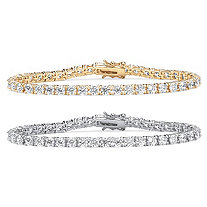 21.50 TCW Cubic Zirconia Sterling Silver and 18k Gold 2-Piece Tennis Bracelets