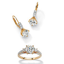 3 1/8 TCW Round Cubic Zirconia 18k Gold over Sterling Silver Earrings + FREE CZ Ring