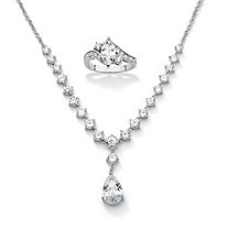 "2.49 TCW Cubic Zirconia Sterling Silver Ring + FREE CZ Silvertone ""Y"" Neck Necklace, 6.65 TCW"