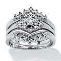 1/4 TCW Round Diamond Platinum Over Sterling Silver 3-Piece Bridal Engagement Wedding Ring Set