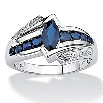 1.28 TCW Marquise-Cut Genuine Midnight Blue Sapphire Platinum over Sterling Silver Ring