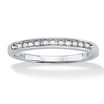 1/10 TCW Round Diamond Platinum Over Sterling Silver Anniversary Ring