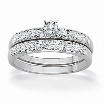 1/7 TCW Round Diamond Pave Platinum Over Sterling Silver Bridal Engagement Wedding Ring Set