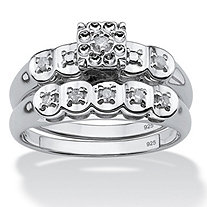 1/8 TCW Round Diamond Platinum over Sterling Silver Bridal Engagement Ring Wedding Band Set