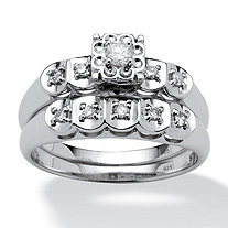 1/4 TCW Round Diamond Platinum Over Sterling Silver Bridal Engagement Ring Set