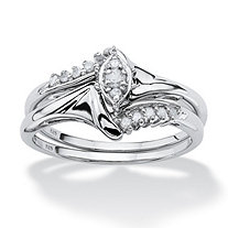 1/5 TCW Round Diamond Platinum over Sterling Silver 2-Piece Bridal Engagement Wedding Ring Set