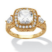 2.58 TCW Cushion-Cut and Trilliant-Cut Cubic Zirconia 18k Gold over Sterling Silver Ring