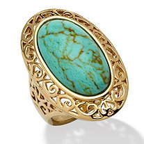 Oval-Shape Simulated Turquoise 18k Yellow Gold-Plated Filigree Ring
